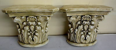 Pair Antique Finish Shelf Capitol plaster Wall Corbel Sconce Bracket Home Decor 9