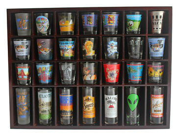 28 Shot Glass Display Case  Rack Wall Shelves Shadow Box Holder Cabinet, SC11-MA 2