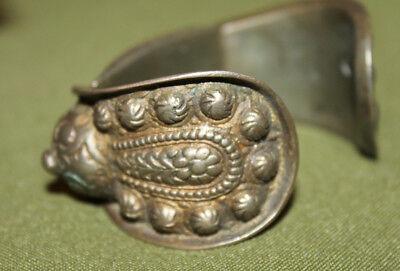 Antique Medieval Greek folk silver plated fertility bracelet 8