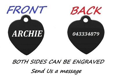 Pet ID Name Heart Tag Tags Laser Engraved Dog Cat Customised and Personalised 5