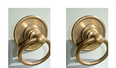 "2 medium 7.5 cm round handle ring pull solid 100%brass heavy OLD style DOOR 3"" B 2"