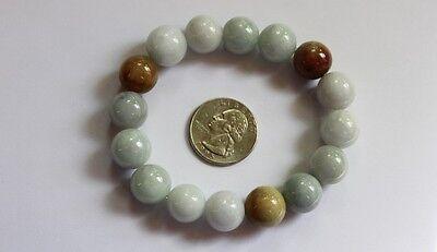 Gemstone Genuine Natural Jade (Grade A) Multi-Color Jadeite Beads Bracelet 13mm 8