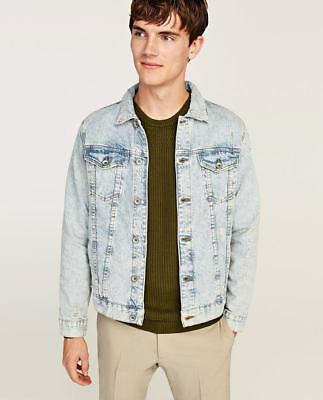 b4a8df16 ... 2 of 10 New ZARA Light Blue Black Bleached Faded Ripped Denim Jacket  With Studded Skull 3