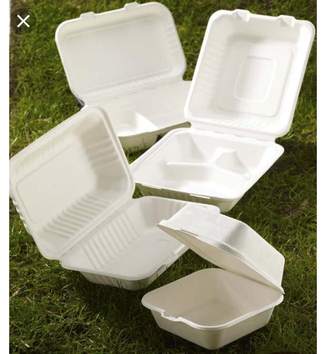 "6"" Burger Box White Biodegradable Bagasse Sugarcane Food Containers  BIO001 3"