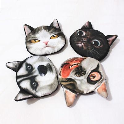 3D Cute Cat Dog Face Shiny Eyes Zipper Xmas Case Card Coin Money Purse Wallets 7