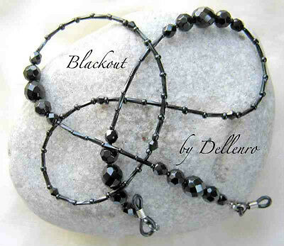 ✫Blackout✫ Handcrafted Black Beaded Eyeglass Glasses Spectacles Chain Holder