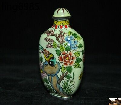 marked old chinese pure copper Cloisonne Magpie Bird Peony Pattern Snuff bottle 2