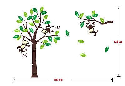Decals, Stickers & Vinyl Art LARGE Giraffe Monkey Tree Wall Art ...