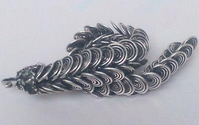 Chinese Tibet silver carved dragon Head Men bracelet 3