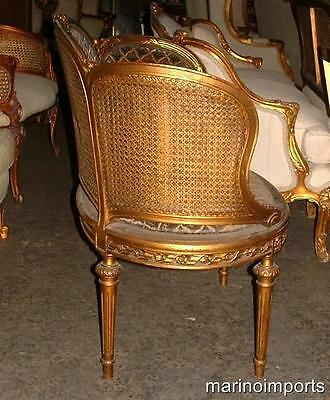 19th C. French Louis XVI Cane Corbeille Settee Chair~ 9