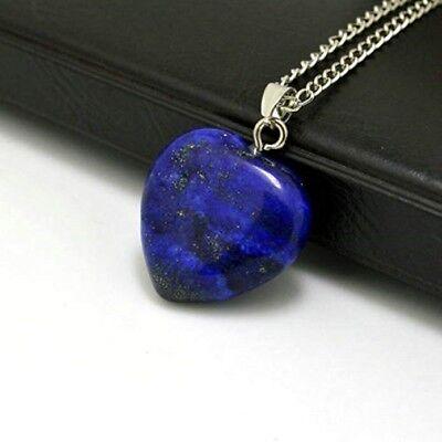 """Blue Lapis Lazuli Heart Pendant Necklace 18"""" Chain Blue Heart Necklace Pendant 4"""