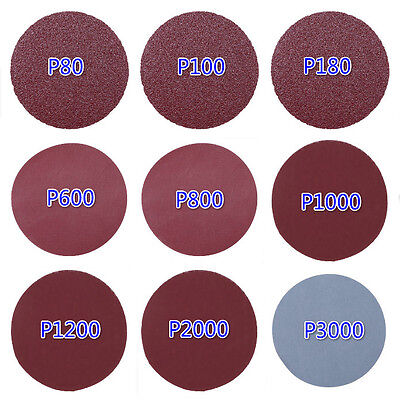 "3"" Sandpaper Sanding Disc Hook Loop Backed Pad Polishing Paper 80-3000# 1/6PCS"