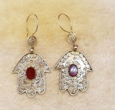 Rare Solid Silver Old Fatima Hand Unique Earring With Natural Red Agate Stone #2 2
