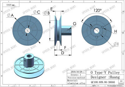 O Type Pulley 1 V Groove Bore 12mm OD 55mm Aluminium Alloy for O Belt Motor