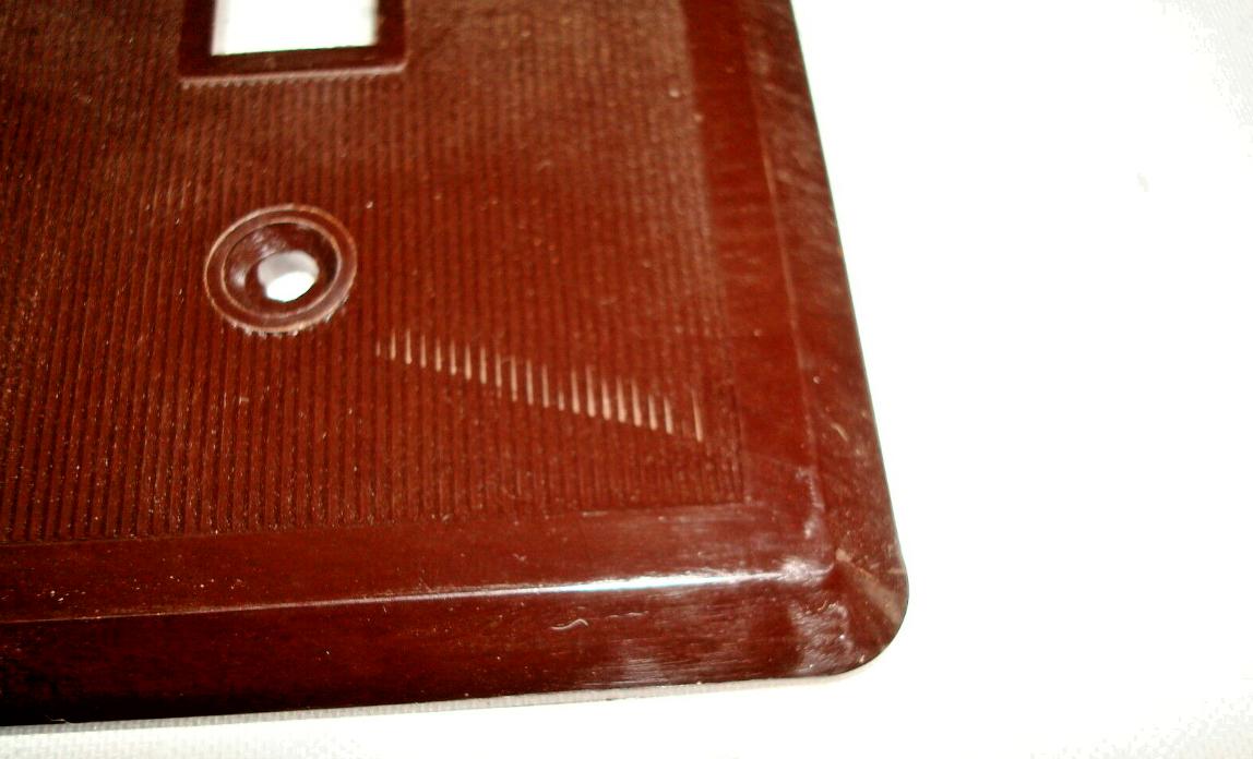 Vintage Etlin Bakelite 4 Gang Brown Ribbed Toggle Wall Plate New Old Stock 704 3