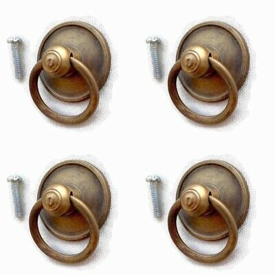 "4 tiny round RINGS small knob pulls handles 1.1/2""old style drops knobs 3.8cm  B 5"