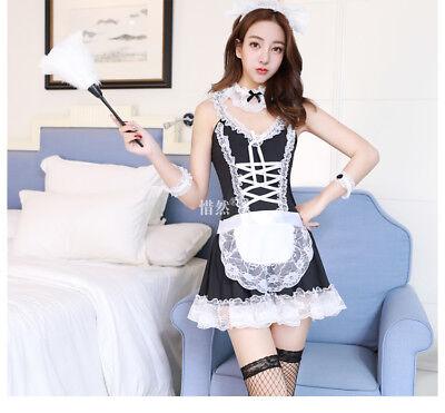 Costume Completo Cameriera Maid Serva Vestito Calze Rete Sexy Completino Abito 6