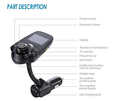 Bluetooth Car Kit MP3 Player FM Transmitter Wireless Radio Adapter USB Charger 4
