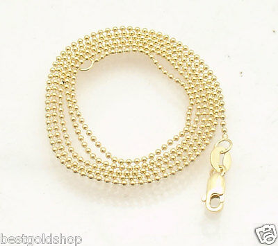 """1mm All Shiny Round Wheat Chain Necklace Real Solid 14K Yellow Gold 16/"""" thru 24/"""""""