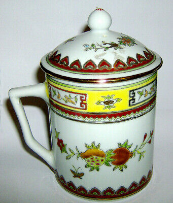 HAND painted Chinese LIDDED MUG ( Floral / Butterfly with gold trim ) 2