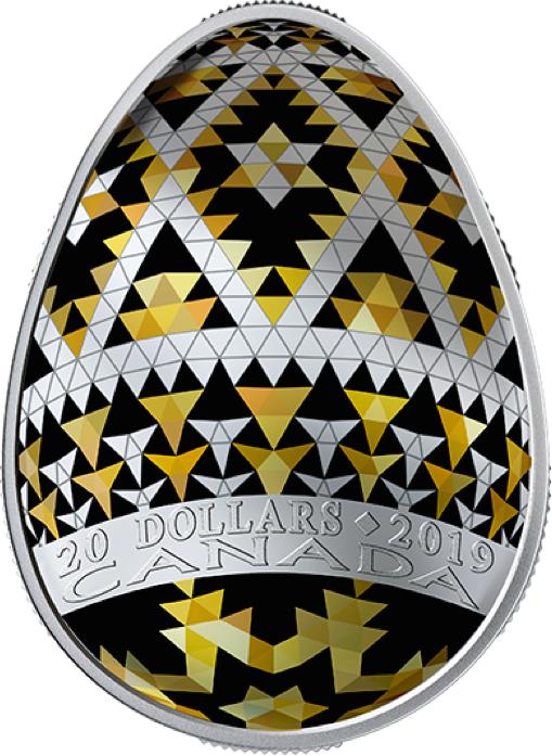 2019 Vegreville Ukrainian Pysanka $20 1OZ EggShaped PureSilver Proof Coin Canada 3