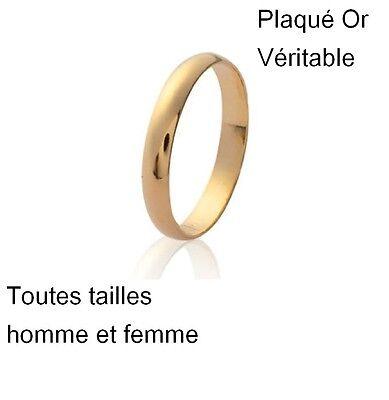 Bague Alliance anneau en plaqué Or vrai  Pour Homme Femme neuf taille 48 au 70