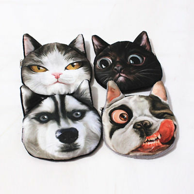 3D Cute Cat Dog Face Shiny Eyes Zipper Xmas Case Card Coin Money Purse Wallets 5