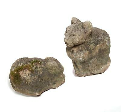 TWO CARVED SANDSTONE GARDEN CATS. Lot 1412 2