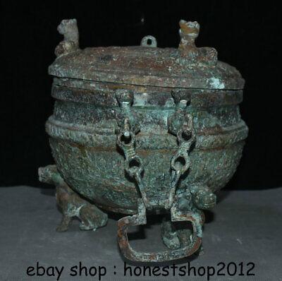 "14 ""Chinesische Dynastie Antik Bronze Ware 3 Tier Griff Kette Pot Jar Crock 5"