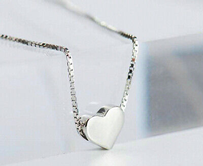 Cute Heart Charm Pendant 925 Sterling Silver Chain Necklace Women Jewellery Gift 3