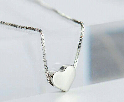 Heart Charm Pendant 925 Sterling Silver Chain Necklace Womens Jewellery Gifts UK 3