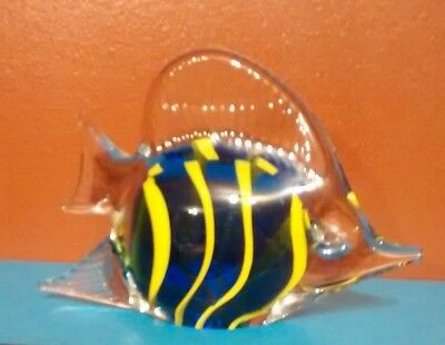 Hand Blown Art Glass Tropical Fish Paperweight Figurine, Blue w/Yellow Stripes 5