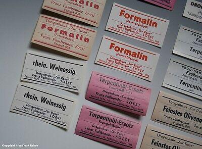 26 x Etiketten für Apotheken Flaschen aus SOEST um 1900-1970 4