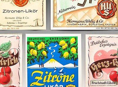 5 x Etiketten LIKÖRFABRIK Uhlig Schlettau, Erzgeb. um 1955 2