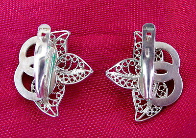 Details about  /RUSSIAN NIELLO REPOUSSE FLORAL PATTERN  LARGE  EARRINGS for PIERCED RUSSIA USSR