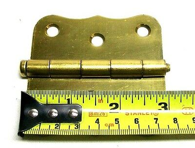 "Lot Of 2 (1 Pair) Vintage 3"" Steel Dull Brass Screen Door Hinge With Screws Dm 4"