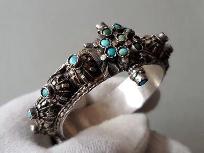 GORGEOUS ANTIQUE Ottoman SILVER filigree Bracelet with semi precious stones XIXc 2