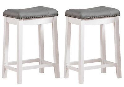 Enjoyable Set Of 2 White Gray Bar Stools 24H Chrome Nailhead Leather Dailytribune Chair Design For Home Dailytribuneorg