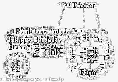Personalised Word Art Print Tractor Farm Father Dad Birthday Card Gift Frame 2