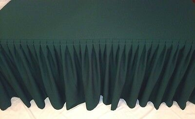 4/' ft Fitted Polyester Double Pleated Table Skirt Cover w//Top Topper Events Red