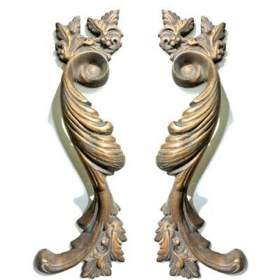 """2 large old look french style pulls handles solid brass vintage doors 11""""pair B 2"""