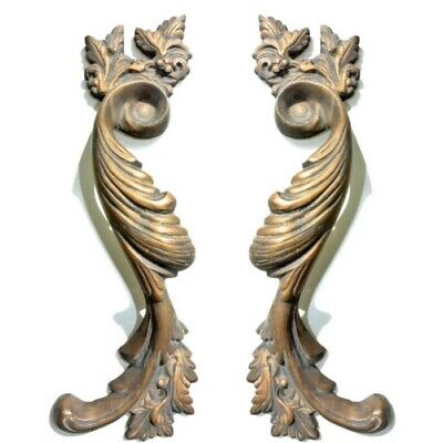 """2 large old look french style pulls handles solid brass vintage doors 11""""pair B 11"""