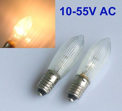10Stk LED 0,2W E10 10-55V Topkerzen Riffelkerzen Spitzkerzen Ersatz Lichterkette 3