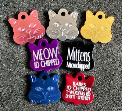 (Pk 3) - £6.99 Coloured Pet DOG/CAT Engraved ID Tags Deep Engraving S/M/L Sizes 5