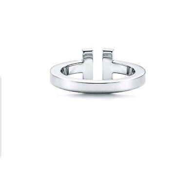 Tiffany&Co T Square Ring In 18K White Gold 8