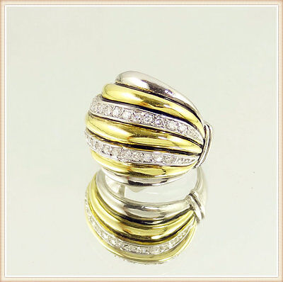 Royal Persian Byzantine Pave Sculpted Cable Cocktail Ring Zirconia Gold Silver