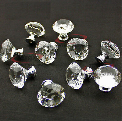 10 zinc alloy clear glass crystal sparkle cabinet drawer door pulls knobs handle 8