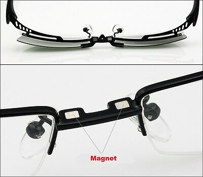 ee08298878 ... Magnetic Polarized Clip on half rim Eyeglasses Frame Night Driving  sunglasses Rx 6