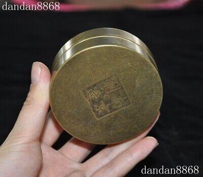 Old Chinese Dynasty Palace bronze inlay green Jade Gem Dragon Phoenix box boxes 7