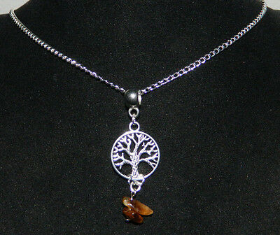 """Tigers Eye Tree of Life Pendant Silver Plated Chain Necklace 17"""" Wicca Occult 3"""